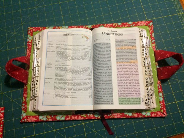 Quilted Bible Cover Finished Open